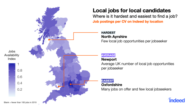 The easiest and hardest places to find a job in the UK. (Indeed)