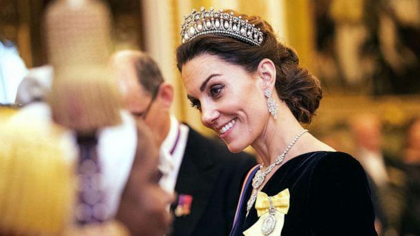 PHOTO: Catherine, Duchess of Cambridge talks to guests at an evening reception for members of the Diplomatic Corps at Buckingham Palace in London, Dec. 11, 2019. (Victoria Jones/PA Wire via ZUMA Press)