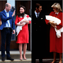 "<p>After giving <a href=""https://www.elle.com/uk/fashion/celebrity-style/a19680213/kate-middleton-dress-outfit-birth-royal-baby/"" rel=""nofollow noopener"" target=""_blank"" data-ylk=""slk:birth to Prince Louis"" class=""link rapid-noclick-resp"">birth to Prince Louis</a>, Middleton stepped out of the Lindo Wing wearing a red Jenny Packham dress. In 1984 Diana also opted for a red outfit with white neck detailing by to introduce the world to her son, Prince Harry, at St. Mary's hospital.</p>"
