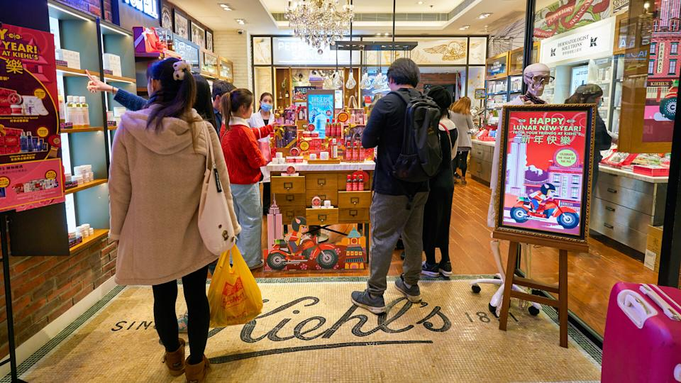 HONG KONG, CHINA - CIRCA JANUARY, 2019: people shopping in Kiehl's store in New Town Plaza shopping mall.
