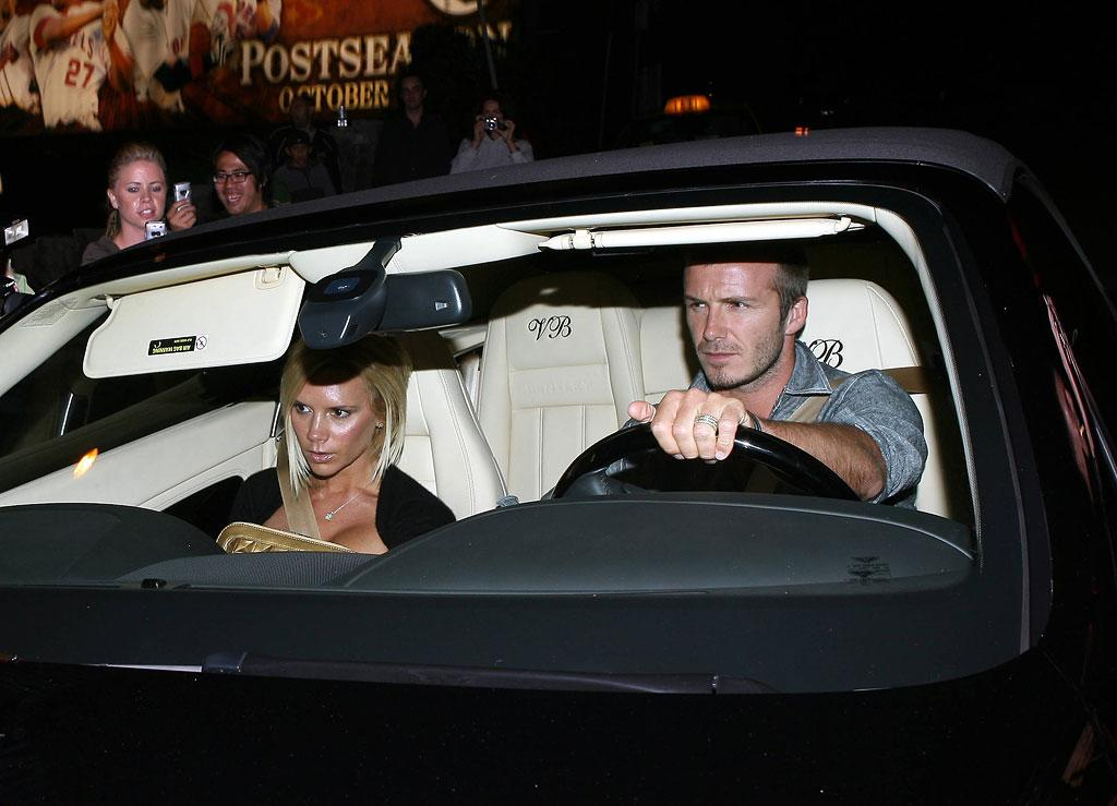 """Posh and Becks are so rich they have monogrammed car seats! Jose/<a href=""""http://www.x17online.com"""" target=""""new"""">X17 Online</a> - August 24, 2007"""