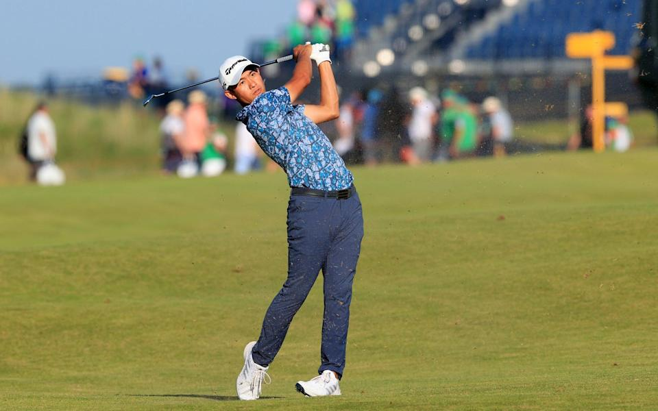 Collin Morikawa of United States plays his second shot on the 18th hole during Day Four of The 149th Open at Royal St George's Golf Club on July 18, 2021 in Sandwich, - GETTY IMAGES