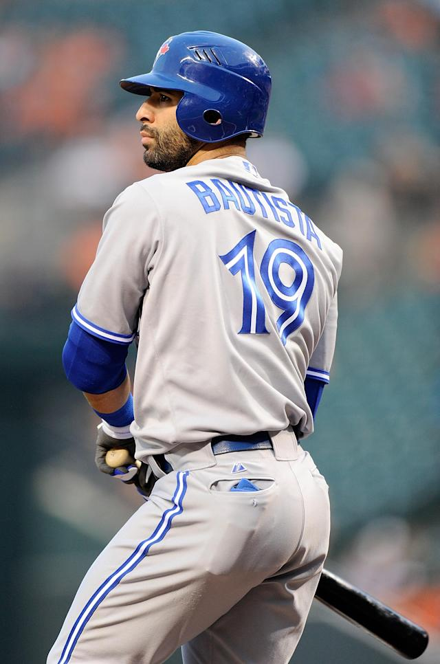 BALTIMORE, MD - AUGUST 24: Jose Bautista #19 of the Toronto Blue Jays reacts after striking out in the first inning against the Baltimore Orioles at Oriole Park at Camden Yards on August 24, 2012 in Baltimore, Maryland. (Photo by Greg Fiume/Getty Images)