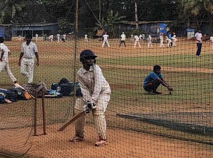 Sony Harigiri during her Cricket practice session.