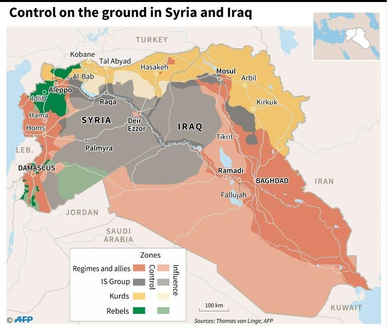 Zones of control in Syria and Iraq