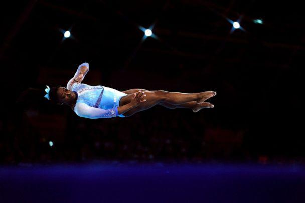 PHOTO: Simone Biles performs during the women's qualifying session at the FIG Artistic Gymnastics World Championships in Stuttgart, Germany, Oct. 5, 2019. (Lionel Bonaventure/AFP via Getty Images)