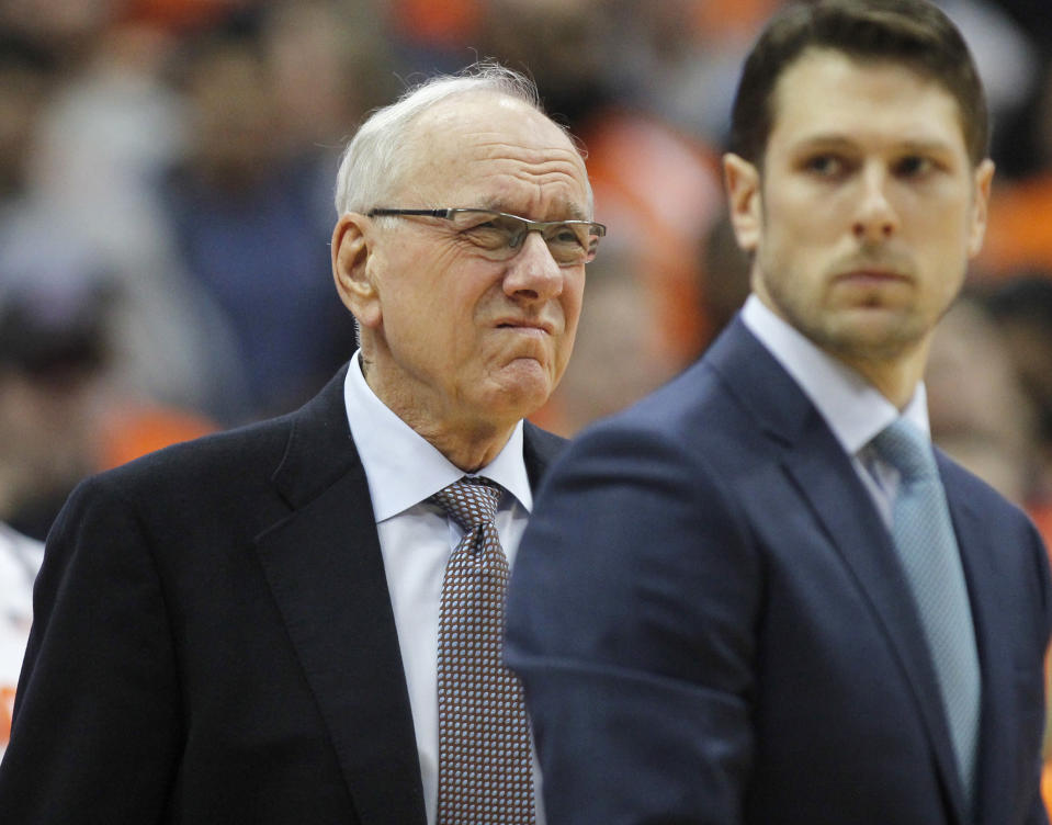 Three days after a deadly car crash, Jim Boeheim is back coaching for Syracuse against Duke. (AP Photo/Nick Lisi)