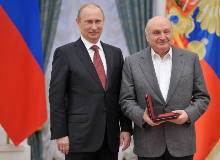 """President Vladimir Putin expressed his """"deep condolences"""" to the family legendary Russian satirist Mikhail Zhvanetsky, pictured together in 2012"""