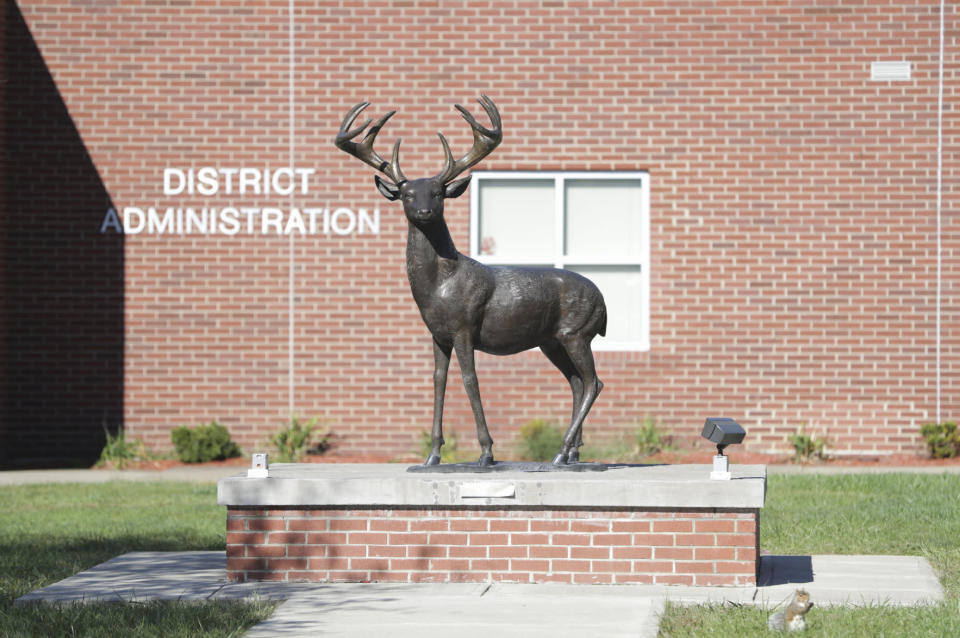 This Sept. 2021 photo shows Dunmore High School in Dunmore, Pa. Four teenagers have been charged with a plot to attack a Pennsylvania high school in 2024, on the 25th anniversary of the massacre at Colorado's Columbine High School, authorities said, Friday, Sept. 24, 2021. A 15-year-old girl and 15-year-old boy are charged as adults and two other teenagers face juvenile charges in the plan to attack Dunmore High School, outside Scranton, on April 20, 2024, authorities said. (Jake Danna Stevens/The Times-Tribune via AP)