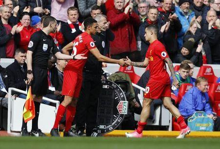 Britain Soccer Football - Liverpool v Everton - Premier League - Anfield - 1/4/17 Liverpool substitute Trent Alexander-Arnold comes on to replace Philippe Coutinho  Reuters / Phil Noble Livepic