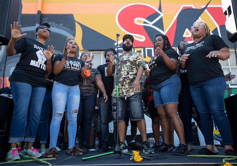 The No Justice No Peace Choir sang during the Until Freedom rally. Aug. 8, 2020