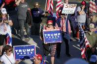 Supporters of President Donald Trump demonstrate near the Pennsylvania State Capitol, Saturday, Nov. 7, 2020, in Harrisburg, Pa., after Democrat Joe Biden defeated Trump to become 46th president of the United States. (AP Photo/Julio Cortez)