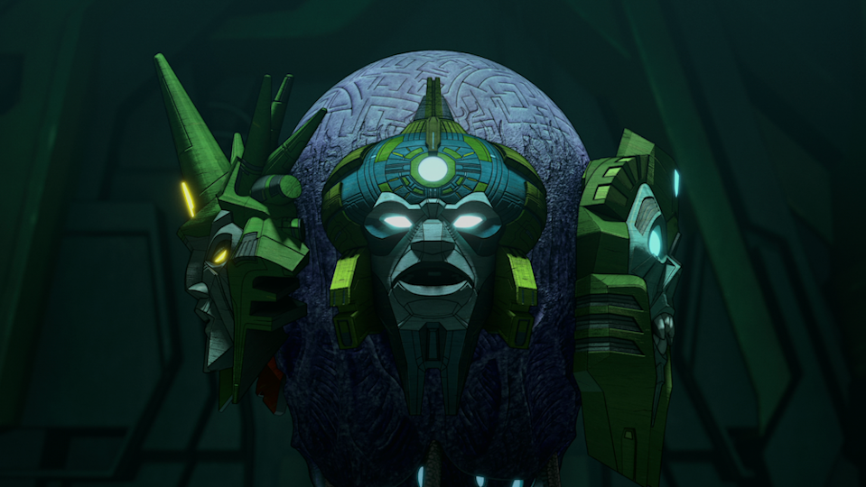 Deseeus (Linsay Rousseau, Jolene Andersen, Keith Silverstein, Jay Sanford, Joseph Houghton) the Quintesson in Transformers: War for Cybertron Chapter 2: Earthrise. (PHOTO: Netflix)