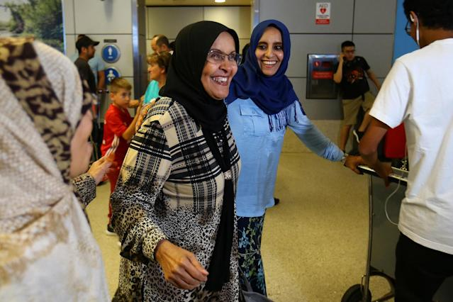 <p>Hanadi Al-Hai (R) welcomes her mother traveling from Jordan on a Yemeni passport following the reinstatement by the U.S. Supreme Court of portions of President Donald Trump's executive order targeting travelers from six predominantly Muslim countries in Los Angeles, California, U.S., June 29, 2017. (Mike Blake/Reuters) </p>