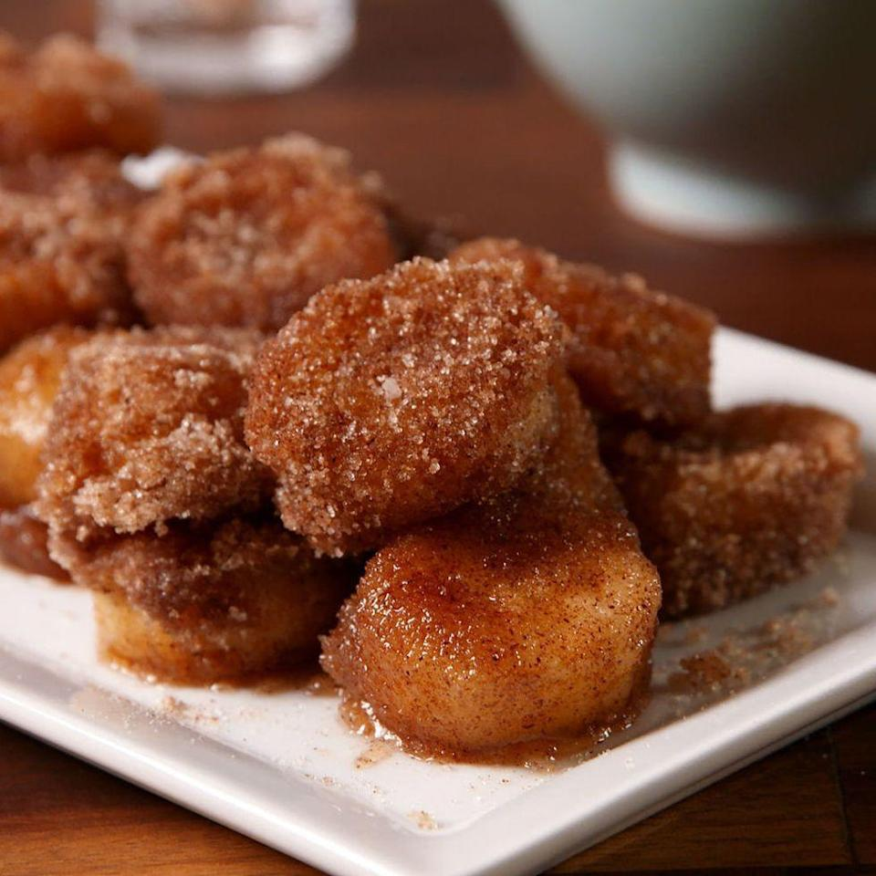 """<p>When we're craving a doughnut, but really want to be healthy, we compromise with these cinnamon sugar bananas. We highly suggest you do the same.</p><p>Get the <a href=""""https://www.delish.com/uk/cooking/recipes/a31728381/churro-banana-bites-recipe/"""" rel=""""nofollow noopener"""" target=""""_blank"""" data-ylk=""""slk:Churro Banana Bites"""" class=""""link rapid-noclick-resp"""">Churro Banana Bites</a> recipe.</p>"""