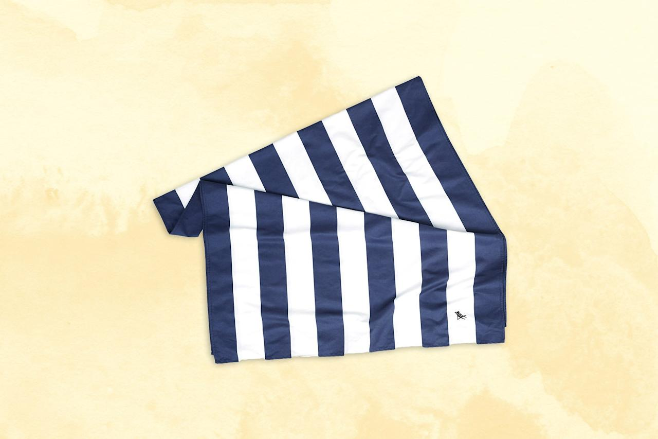 """<p><strong>Best for the sand averse</strong></p> <p>For those who can't stand a sandy towel, Dock & Bay's quick-dry Cabana towels are your key to enjoying beach days—the smooth texture ensures sand won't cling to it. The nautical, striped towels are sold in two sizes, large and extra large, and come with a travel pouch they pack down into. The material, a shiny microfiber, isn't as cushy as the towels you may be used to—it feels a bit odd to towel off with, but dries incredibly quickly (up to three times faster than a standard cotton towel, the company says). An additional perk: There's a small elastic hook on the back for easy hanging.</p> <p><strong>Buy Now:</strong> <a href=""""https://fave.co/2OnSz5P"""" rel=""""nofollow"""" target=""""_blank"""">$20, dockandbay.com</a></p>"""