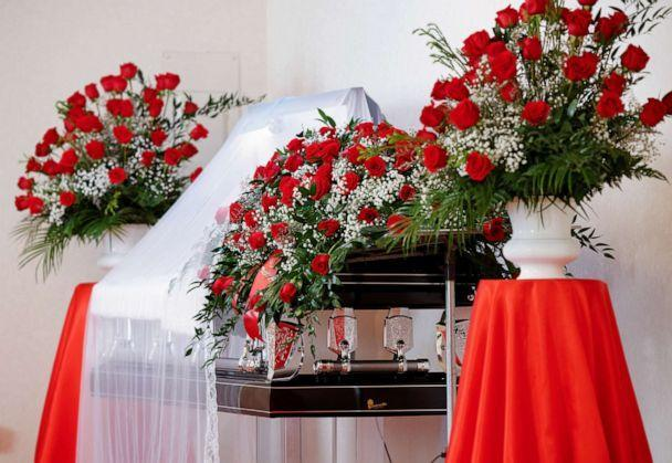 PHOTO: The open casket of Andrew Brown Jr. is adorned with roses during a viewing at a funeral home in Hertford, North Carolina, May 2, 2021. (Jonathan Drake/Reuters)
