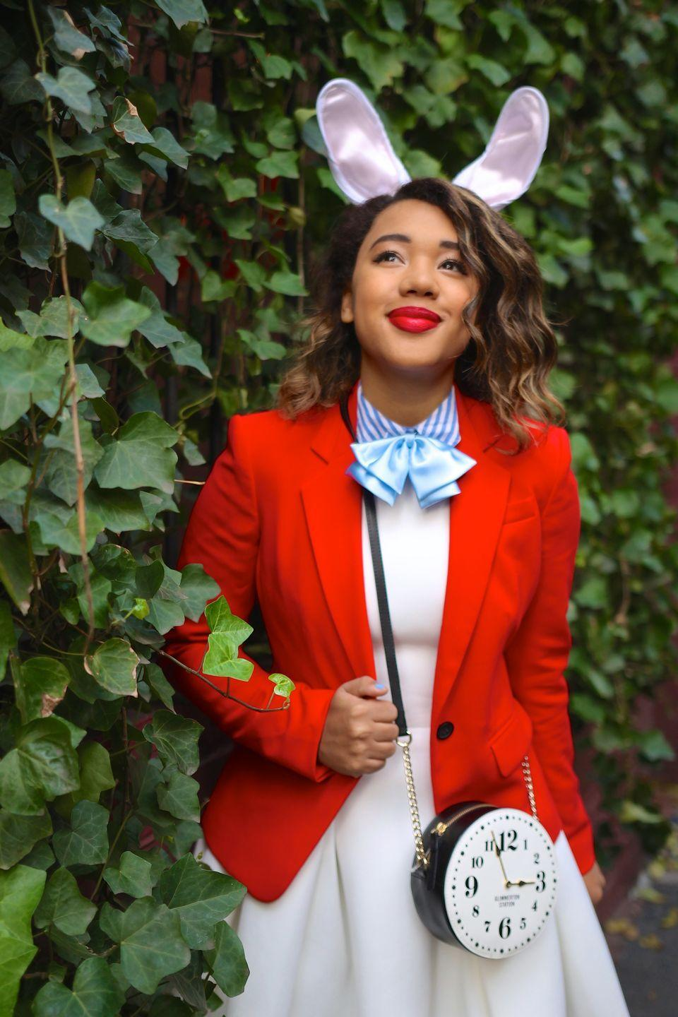"""<p>If you're running late for a very important date, and that date happens to be October 31, this is an easy costume to whip up.</p><p><strong>Get the tutorial at <a href=""""https://www.colormecourtney.com/disney-diy-2-easy-halloween-costumes/"""" rel=""""nofollow noopener"""" target=""""_blank"""" data-ylk=""""slk:Color Me Courtney"""" class=""""link rapid-noclick-resp"""">Color Me Courtney</a>.</strong></p><p><a class=""""link rapid-noclick-resp"""" href=""""https://www.amazon.com/s/ref=nb_sb_noss_2?url=search-alias%3Dfashion&field-keywords=clock+purse&tag=syn-yahoo-20&ascsubtag=%5Bartid%7C10050.g.4571%5Bsrc%7Cyahoo-us"""" rel=""""nofollow noopener"""" target=""""_blank"""" data-ylk=""""slk:SHOP CLOCK PURSES"""">SHOP CLOCK PURSES</a></p>"""