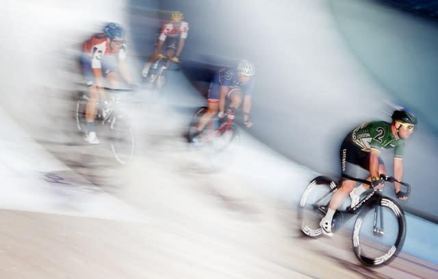 Great Britain's Mark Cavendish competes at the Six Day Event at Lee Valley Velopark in London. The British rider won his 40-lap derny heat on day one of the competition (John Walton/PA)