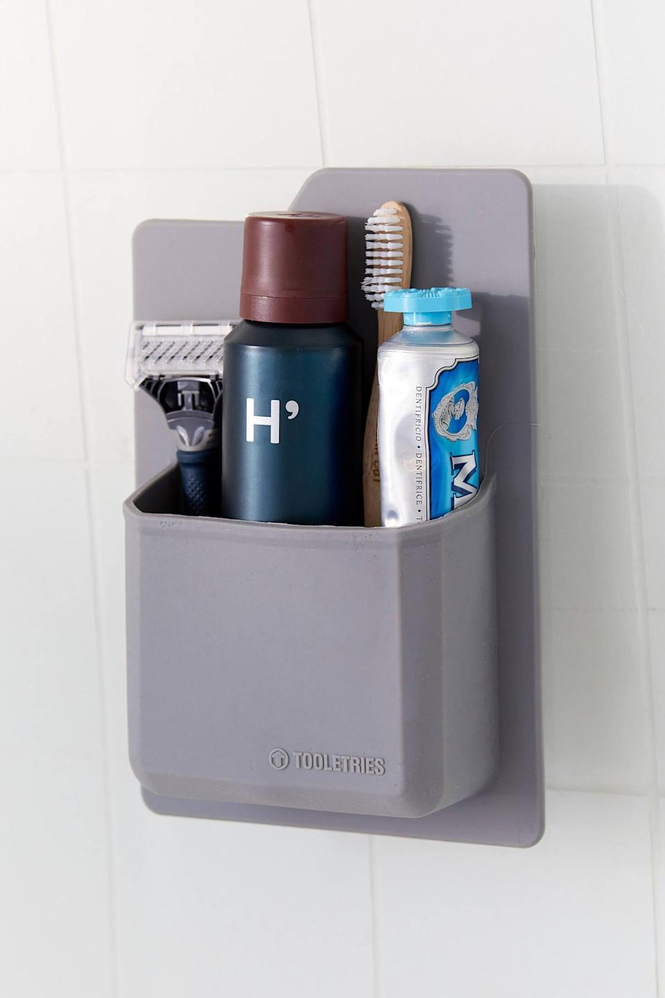 "<p>This <a href=""https://www.popsugar.com/buy/Tooletries-Toiletry-Wall-Organizer-551630?p_name=Tooletries%20Toiletry%20Wall%20Organizer&retailer=urbanoutfitters.com&pid=551630&price=20&evar1=casa%3Aus&evar9=47251564&evar98=https%3A%2F%2Fwww.popsugar.com%2Fhome%2Fphoto-gallery%2F47251564%2Fimage%2F47252508%2FTooletries-Toiletry-Wall-Organizer&list1=cleaning%2Corganization%2Cspring%20cleaning%2Csmall%20space%20living%2Cbathrooms%2Chome%20organization&prop13=mobile&pdata=1"" class=""link rapid-noclick-resp"" rel=""nofollow noopener"" target=""_blank"" data-ylk=""slk:Tooletries Toiletry Wall Organizer"">Tooletries Toiletry Wall Organizer</a> ($20) is so easy to install.</p>"