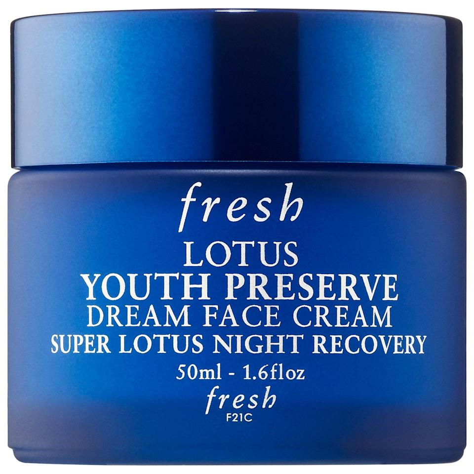 <p>Let your skin repair at night with this potent <span>Fresh Lotus Youth Preserve Dream Night Cream</span> ($48).</p>
