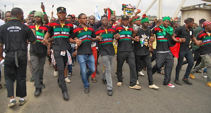 Supporters of the Indigenous People of Biafra (IPOB) march in Port Harcourt on January 20, 2017 in support of the US president-elect (AFP Photo/STRINGER)