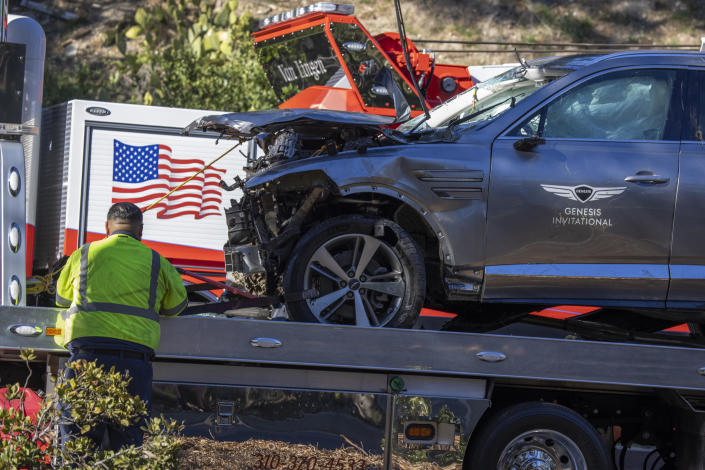 The car that golf legend Tiger Woods was driving when seriously injured in a rollover accident on February 23, 2021 in Rolling Hills Estates, California. / Credit: David McNew / Getty Images