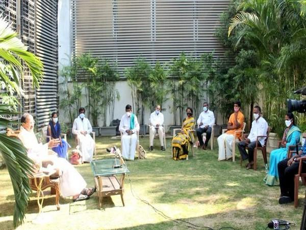 VP M Venkaiah Naidu holding meeting with farmers at his residence in Hyderabad on Wednesday. (Photo/ANI)