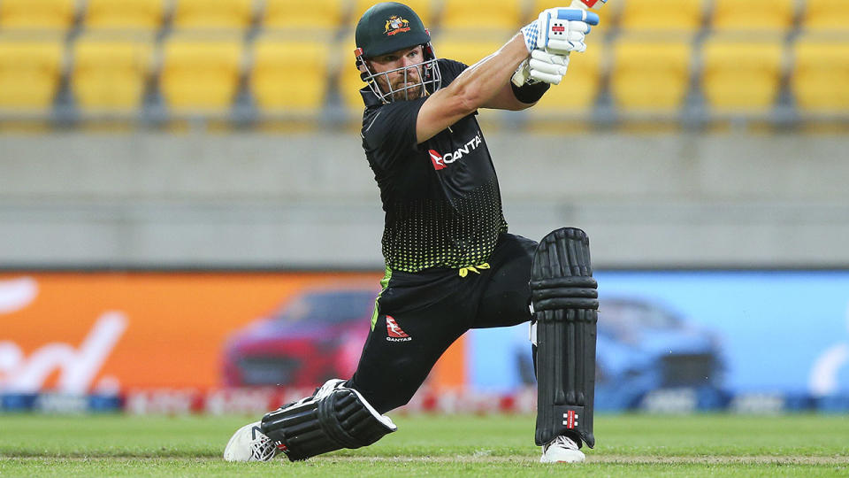 Aaron Finch, pictured here in action for Australia against New Zealand in the third T20.