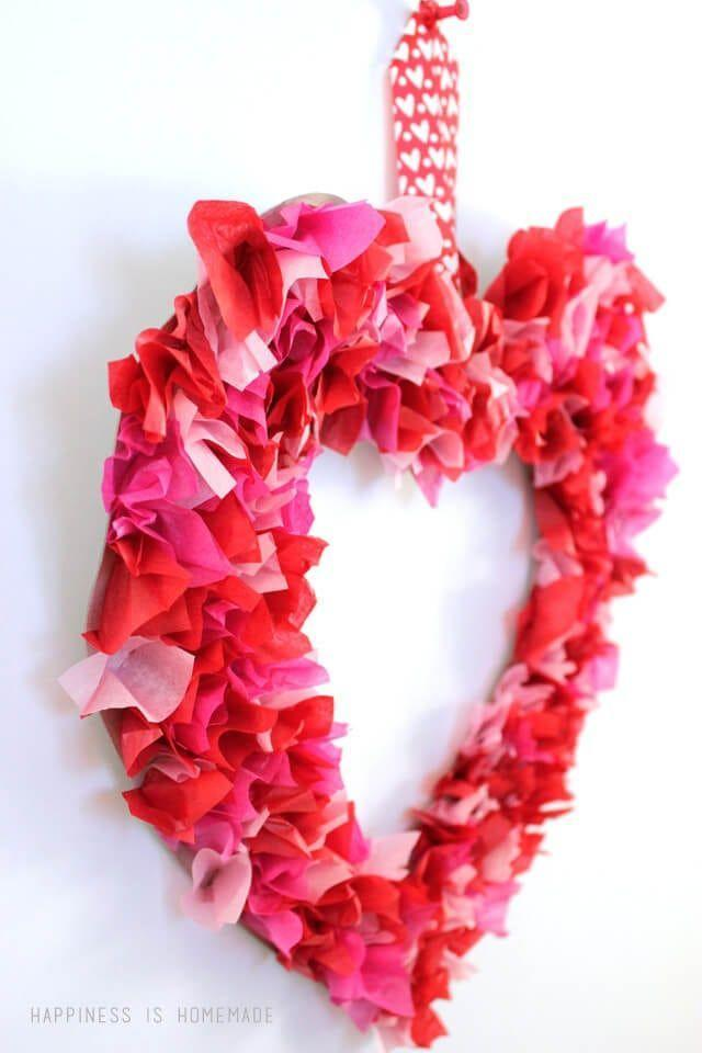 """<p>This brightly colored wreath is pretty enough to hang on your front door all February long.</p><p><strong>Get the tutorial at <a href=""""https://www.happinessishomemade.net/kids-craft-valentines-day-tissue-paper-heart-wreath/"""" rel=""""nofollow noopener"""" target=""""_blank"""" data-ylk=""""slk:Happiness is Homemade"""" class=""""link rapid-noclick-resp"""">Happiness is Homemade</a>.</strong></p><p><strong><a class=""""link rapid-noclick-resp"""" href=""""https://www.amazon.com/Hallmark-Tissue-Paper-Sheets-White/dp/B01N9E455O?tag=syn-yahoo-20&ascsubtag=%5Bartid%7C10050.g.1584%5Bsrc%7Cyahoo-us"""" rel=""""nofollow noopener"""" target=""""_blank"""" data-ylk=""""slk:SHOP TISSUE PAPER"""">SHOP TISSUE PAPER</a><br></strong></p>"""
