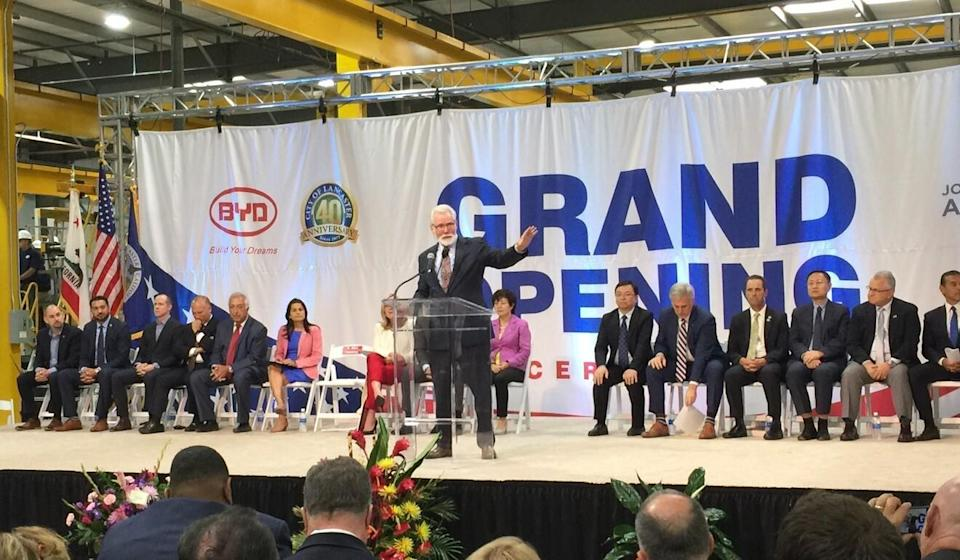 Mayor R. Rex Parris of Lancaster, California, speaks at a ceremony marking BYD's factory expansion in 2017. Photo: Robert Delaney