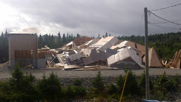 A pricey home being built in Pouch Cove collapsed when tropical storm Leslie passed through the area.