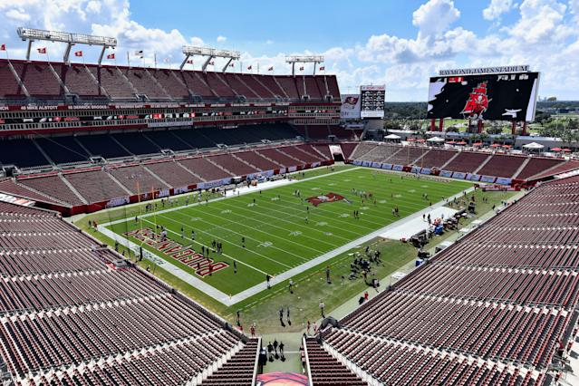 "It's not entirely clear why the <a class=""link rapid-noclick-resp"" href=""/nfl/teams/tampa-bay/"" data-ylk=""slk:Tampa Bay Buccaneers"">Tampa Bay Buccaneers</a> are seeking damages from BP. (Photo by Roy K. Miller/Icon Sportswire via Getty Images)"