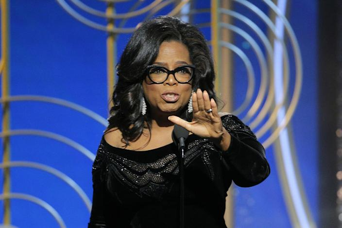 Oprah Winfrey accepts the Cecil B. DeMille Award at the 75th Annual Golden Globe Awards in Beverly Hills, Calif., on Sunday. (Paul Drinkwater/NBC via AP)