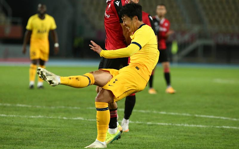 Son Heung-min started up front for Tottenham in Macedonia - AP