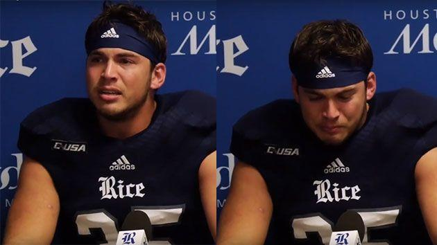 The 100-kilogram running back was reduced to tears during an emotional post game interview. Photo: YouTube