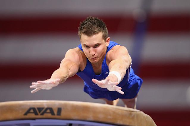 ST. LOUIS, MO - JUNE 7: Jonathan Horton competes in the vault exercise during the Senior Men's competition on day one of the Visa Championships at Chaifetz Arena on June 7, 2012 in St. Louis, Missouri. (Photo by Dilip Vishwanat/Getty Images)