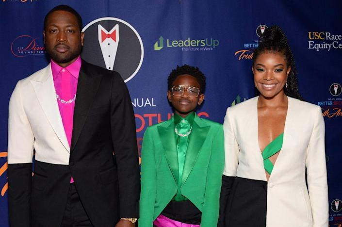 (L-R) Dwyane Wade, Zaya Wade and Gabrielle Union attend the Better Brothers Los Angeles 6th annual Truth Awards at Taglyan Complex on March 07, 2020 in Los Angeles, California. (Photo by Andrew Toth/Getty Images)