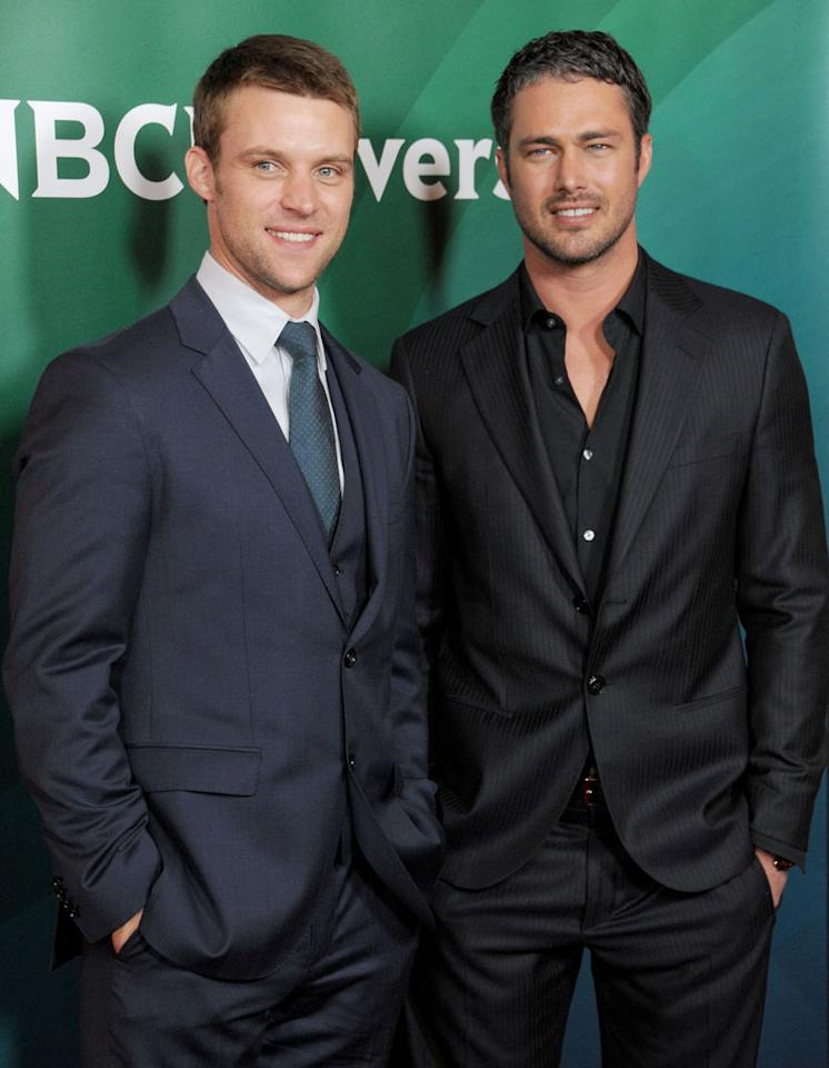 "Jesse Spencer and Taylor Kinney (""Chicago Fire"") attend the 2013 NBC Universal Summer Press Day held at The Langham Huntington Hotel and Spa on April 22, 2013 in Pasadena, California."
