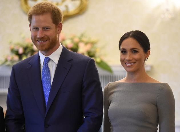 Meghan Markle wearing a Roland Mouret boatneck dress with Prince Harry on the second day of their royal visit to Ireland.