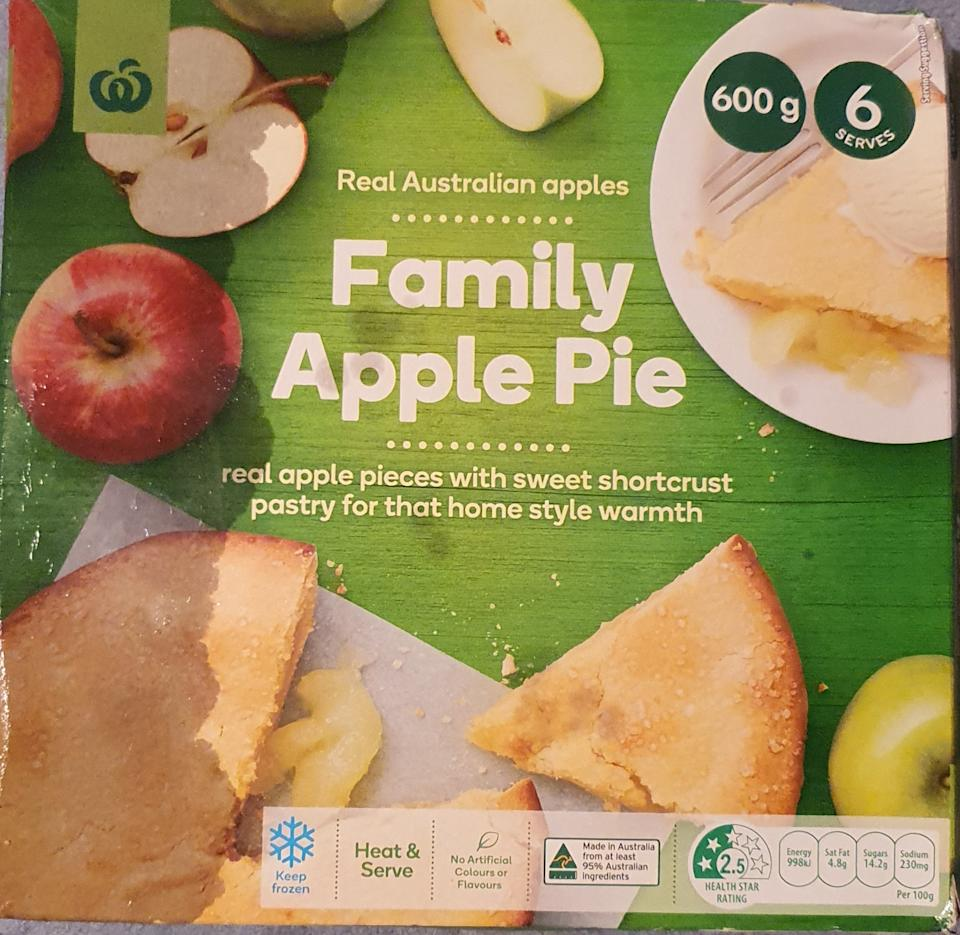 Woolworths apple pie box pictured.