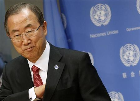 United Nations Secretary-General Ban speaks during a news conference at the United Nations Headquarters in New York