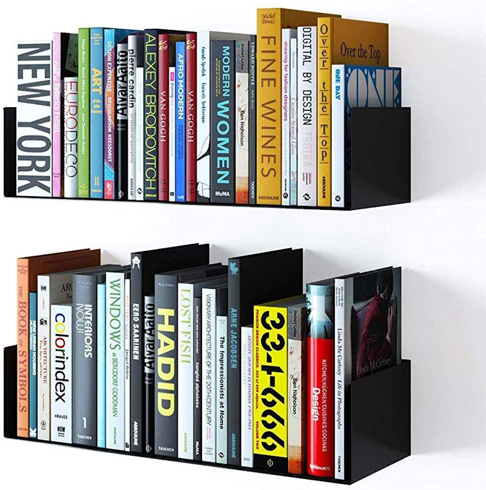 "Store your books and files in style with a barely-there, floating mounted shelf. <br><br><strong><em><a href=""https://www.amazon.com/Wallniture-Floating-Storage-Display-Bookcase/dp/B01MXVB20W/ref=asc_df_B01MXVB20W/?"" rel=""nofollow noopener"" target=""_blank"" data-ylk=""slk:Shop Amazon"" class=""link rapid-noclick-resp"">Shop Amazon</a></em></strong> <br><br><strong>Wallniture Store</strong> Wallniture Bali Floating Shelf, $, available at <a href=""https://www.amazon.com/Wallniture-Floating-Storage-Display-Bookcase/dp/B01MXVB20W/ref=asc_df_B01MXVB20W/?"" rel=""nofollow noopener"" target=""_blank"" data-ylk=""slk:Amazon"" class=""link rapid-noclick-resp"">Amazon</a>"