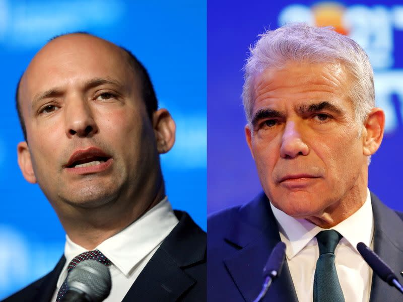 A combination of file photos shows Naftali Bennett in Jerusalem and Yair Lapid in Tel Aviv
