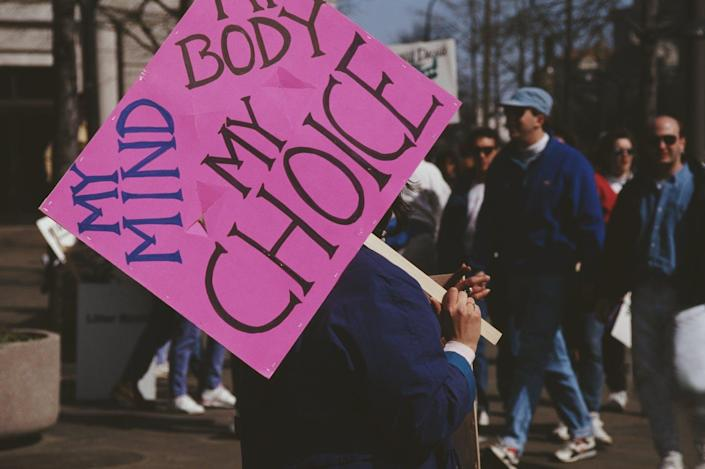 """<span class=""""caption"""">Time for a new slogan?</span> <span class=""""attribution""""><a class=""""link rapid-noclick-resp"""" href=""""https://www.gettyimages.com/detail/news-photo/pro-choice-march-in-washington-dc-4th-may-1992-one-news-photo/552990125?adppopup=true"""" rel=""""nofollow noopener"""" target=""""_blank"""" data-ylk=""""slk:Alfred Gescheidt/Getty Images""""> Alfred Gescheidt/Getty Images</a></span>"""