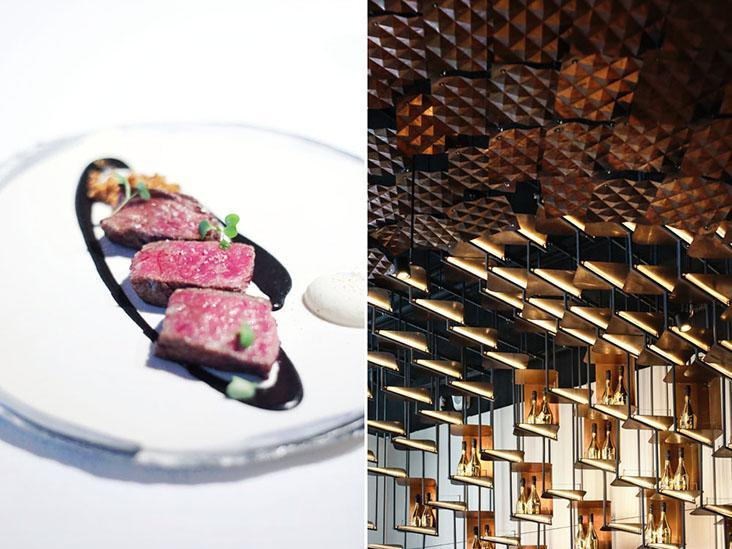 Meat courses showcase premium local beef from Yunlin County (left). The stars in the sky brought indoors (right).