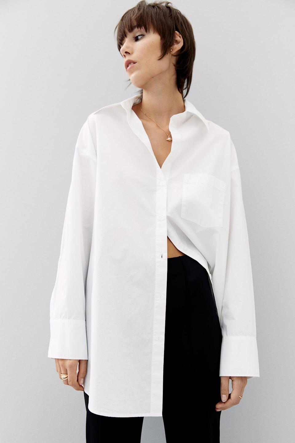 <p>For your first day back to the office or an interview, this <span>Oversized Cotton Shirt</span> ($25) will look polished and easygoing. It will earn a permanent spot in your closet.</p>