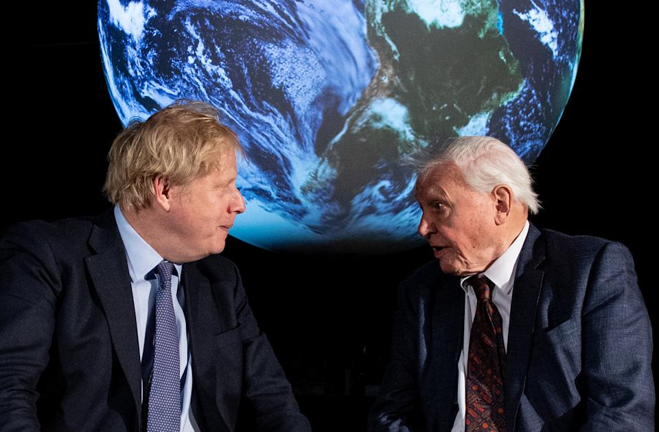 The Prime Minister Boris Johnson (left) and Sir David Attenborough at the launch of the next COP26 UN Climate Summit at the Science Museum, London.