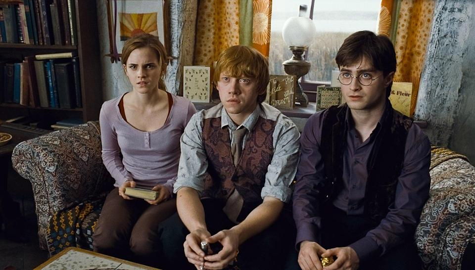 """<p><strong>HBO Max's Description:</strong> """"Without the guidance and protection of their professors, Harry, Ron and Hermione begin a mission to destroy the Horcruxes, the sources of Voldemort's immortality. Though they must rely on one another more than ever, dark forces threaten to tear them apart. Voldemort's Death Eaters have seized control of the Ministry of Magic and Hogwarts, and they are searching for Harry, even as he and his friends prepare for the ultimate showdown.""""</p> <p><a href=""""https://play.hbomax.com/feature/urn:hbo:feature:GXssRwQHfmVVGwwEAAABi"""" class=""""link rapid-noclick-resp"""" rel=""""nofollow noopener"""" target=""""_blank"""" data-ylk=""""slk:Watch Harry Potter and the Deathly Hallows: Part 1 (rated PG-13) on HBO Max"""">Watch <strong>Harry Potter and the Deathly Hallows: Part 1</strong> (rated PG-13) on HBO Max</a> before it leaves the service in September.</p>"""
