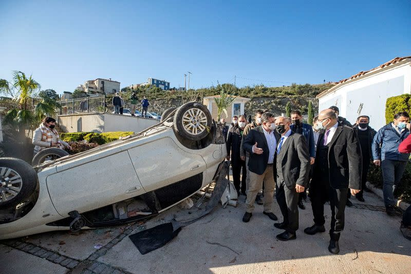 Izmir Mayor Soyer inspects damages after a tornado in the Aegean town of Cesme near Izmir
